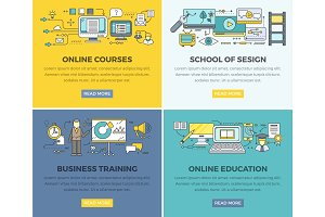 Online Education Courses Vector Web Banners Set