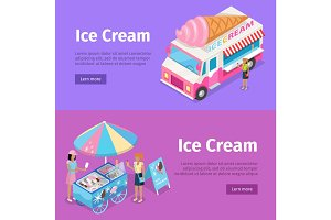 Ice Cream Mobile Umbrella Cart and Minivan Poster