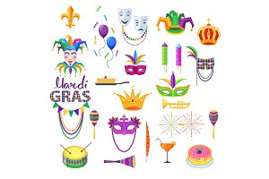 Mardi Gras Festival Vector Collection on White