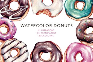 Donuts. Watercolor illustrations.
