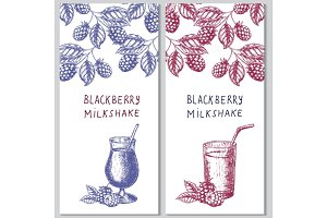 Two vertical orientation hand drawn flyers for berry milkshakes. Vector template design.