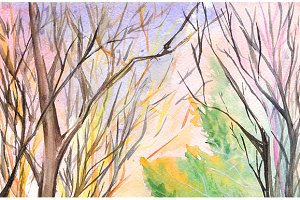 Watercolor autumn nature tree park