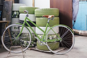 Handcrafted green bicycle