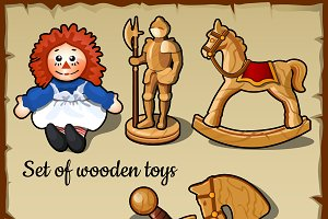 Wooden toys for all children, play vector set