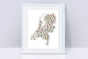 Holland map with tulips