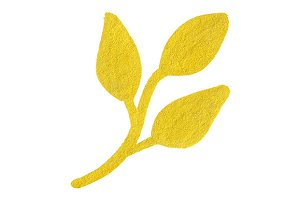 Golden yellow leaf branch symbol