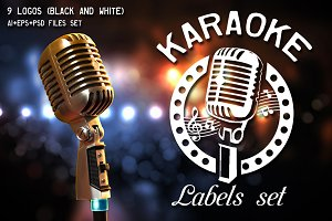 Karaoke labels and logos set