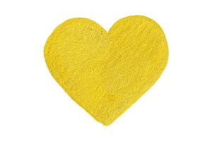 Golden yellow heart love symbol