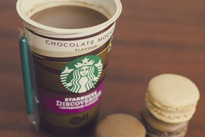 Starbucks coffee and macarons