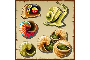 Snails, icons of garden and toy creatures
