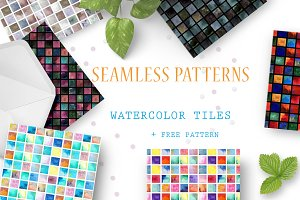 Watercolor tile 6 seamless patterns