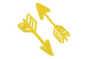 Golden yellow arrow symbol