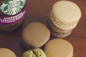Macarons and starbucks coffee