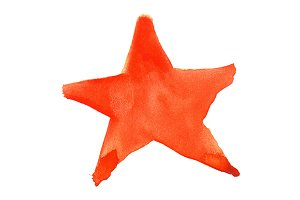 Watercolor red star symbol