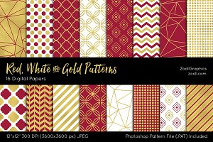 Red, White & Gold Digital Papers