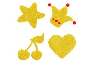 Golden yellow symbol set