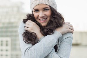 Pretty young brunette shivering