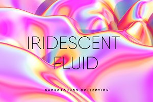 10 Iridescent Pink Fluid Texture Set