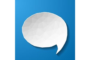 White low poly speech bubble