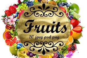 Fruits digital collection. Set 5