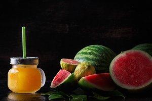 Mini watermelons with citrus juice