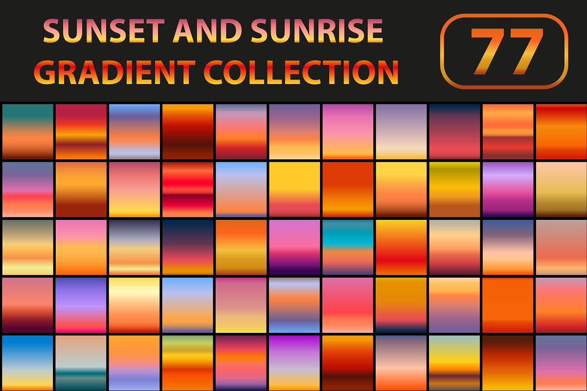 Sunset And Sunrise Gradient Set Gradients Creative Market