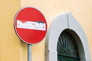 Creative road sign in Florence