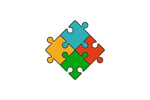 Four piece puzzle flat line icon