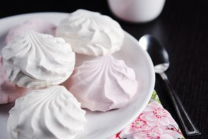 sweet white and pink marshmallows