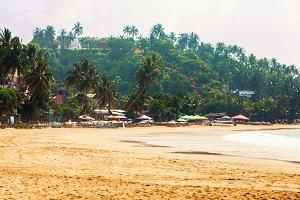 Beach with palms, beach loungers and sun-umbrellas in hot season