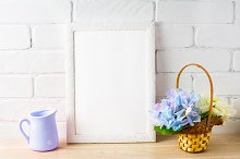 Rustic style white frame mockup