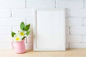White frame mockup with flower pot