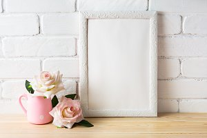 White frame mockup with pink roses