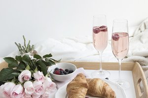 Breakfast In Bed, Champagne & Roses