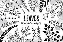 Leaves sketch style set