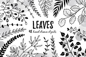 Leaves sketch style set