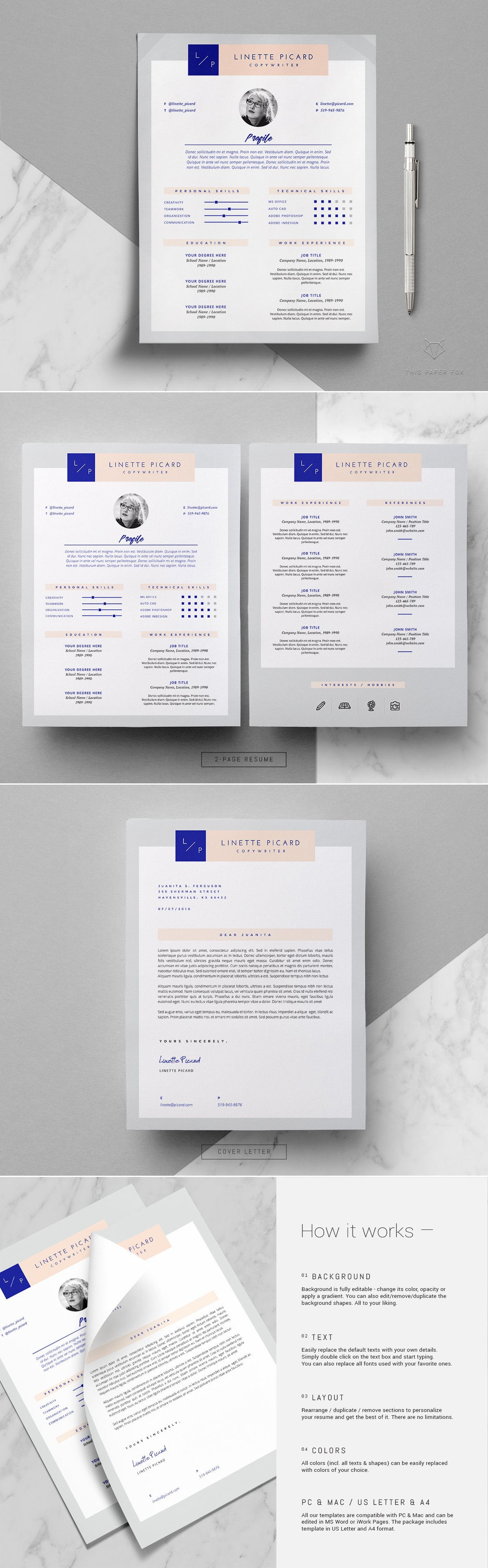 page resume template linette resume templates on creative market
