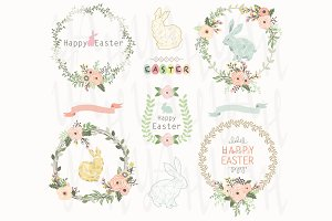 Floral Easter Wreath Elements