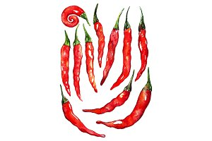Watercolor red hot chili pepper set