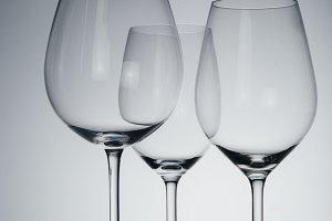 Wine empty glasses studio still life