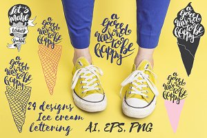 Ice cream lettering set