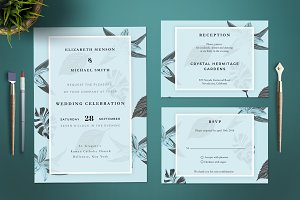 Elegant Leaves Wedding Invitation