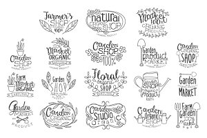 Organic Garden Hand Drawn Banner Set