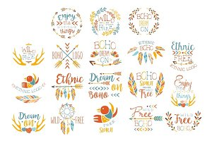 Boho Logo Hand Drawn Banner Set