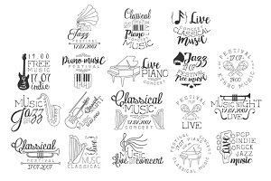 Live Music Hand Drawn Banner Set