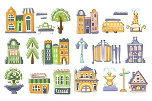 City Buildings And Other Elements Creative Design Set