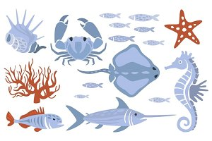 Stylized Underwater Nature Set Of Icons