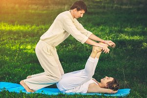 Thai massage with yoga exercises