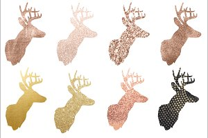 Rose Gold & Gold Buck Silhouette PNG