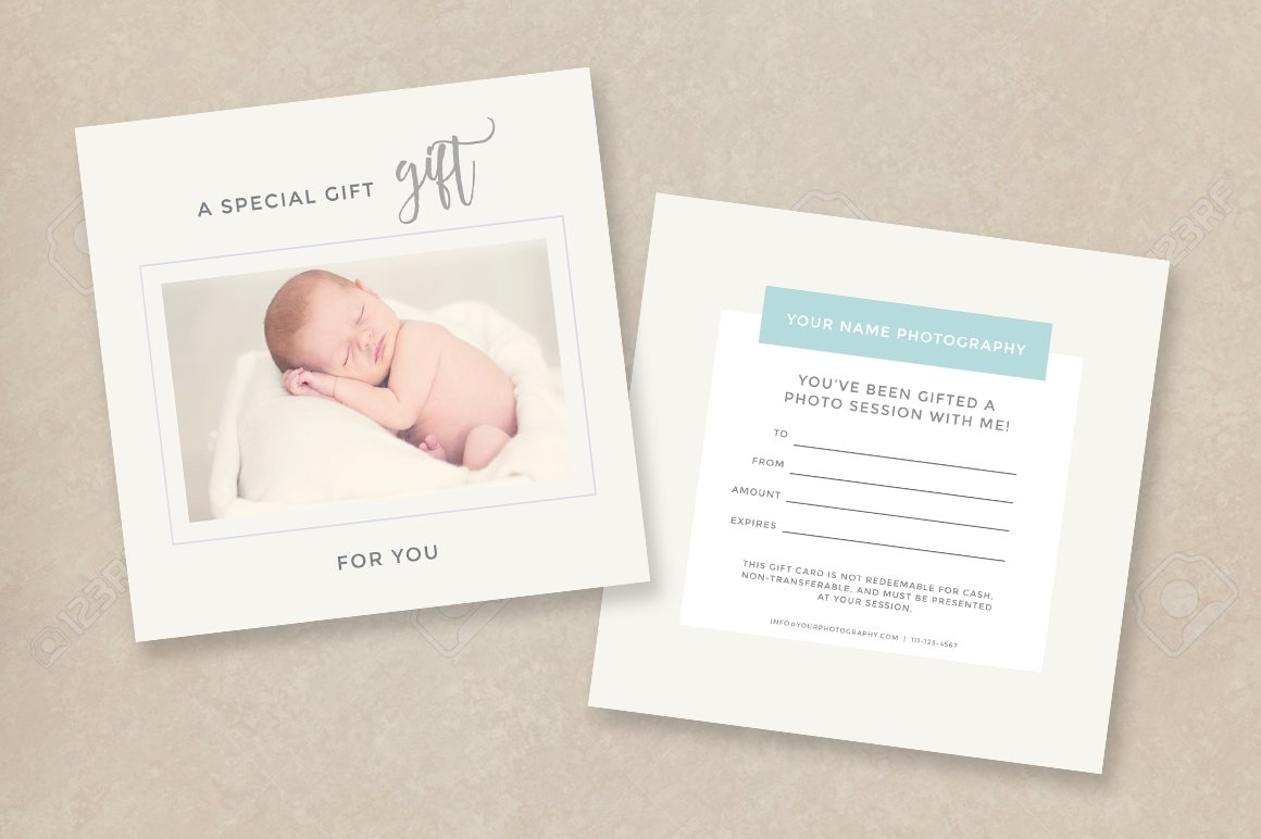 photographer gift certificate psd card templates creative market. Black Bedroom Furniture Sets. Home Design Ideas